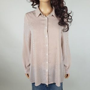 ✿❀ Forever 21 Tan Striped Long Sleeve Blouse ❀✿